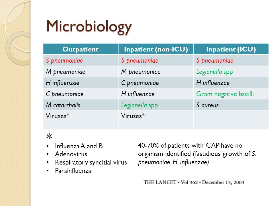 Microbiology OutpatientInpatient (non-ICU)Inpatient (ICU) S pneumoniae M pneumoniae Legionella spp H influenzaeC pneumoniaeH influenzae C pneumoniaeH influenzaeGram negative bacilli M catarrhalisLegionella sppS aureus Viruses* * Influenza A and B Adenovirus Respiratory syncitial virus Parainfluenza 40-70% of patients with CAP have no organism identified (fastidious growth of S.