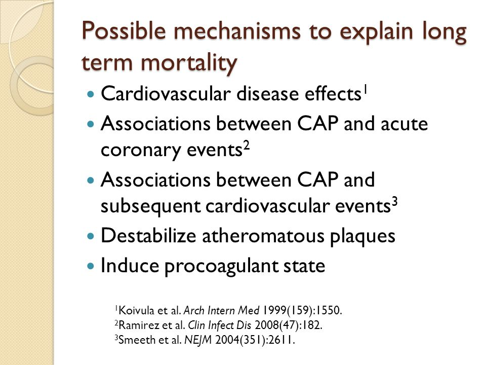 Possible mechanisms to explain long term mortality Cardiovascular disease effects 1 Associations between CAP and acute coronary events 2 Associations between CAP and subsequent cardiovascular events 3 Destabilize atheromatous plaques Induce procoagulant state 1 Koivula et al.