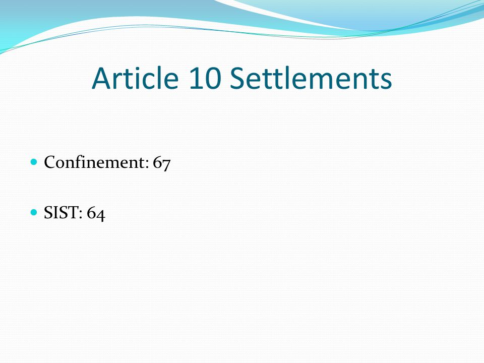 Article 10 Settlements Confinement: 67 SIST: 64