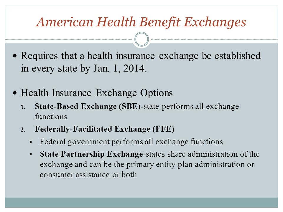 American Health Benefit Exchanges Requires that a health insurance exchange be established in every state by Jan. 1, 2014. Health Insurance Exchange O