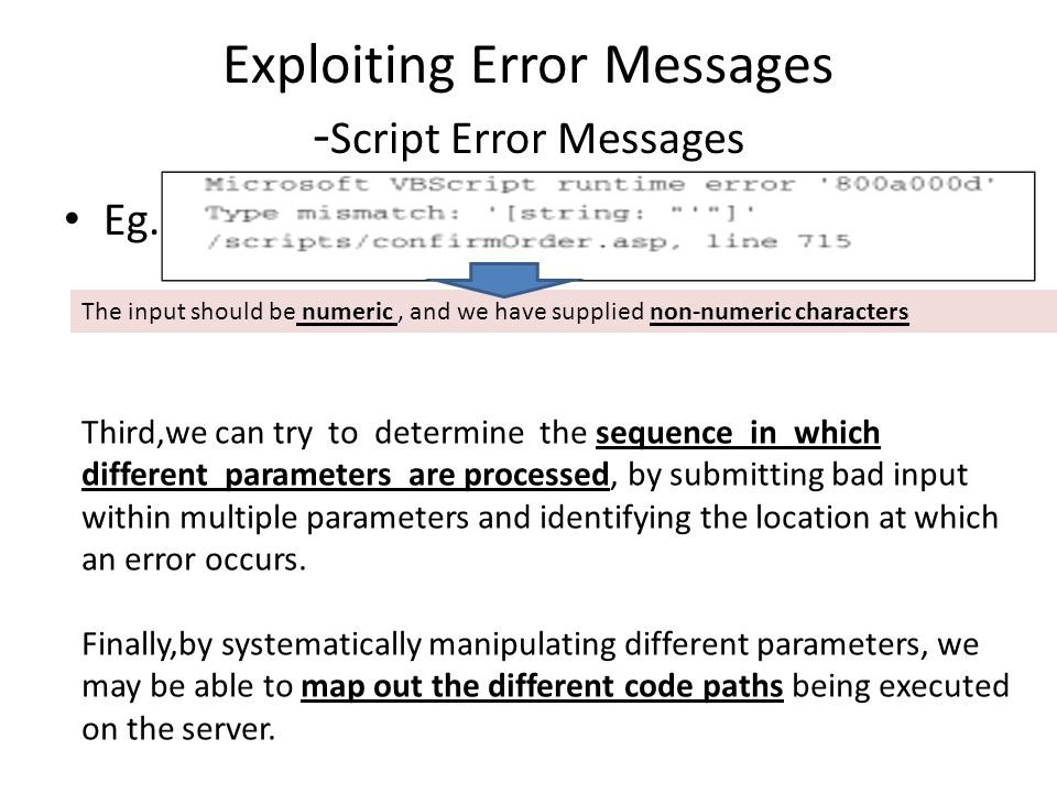 Exploiting Error Messages - Script Error Messages Eg.
