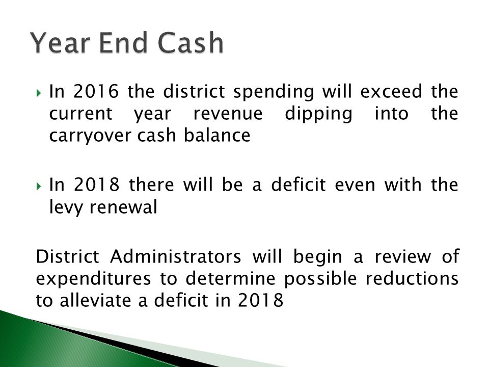  In 2016 the district spending will exceed the current year revenue dipping into the carryover cash balance  In 2018 there will be a deficit even with the levy renewal District Administrators will begin a review of expenditures to determine possible reductions to alleviate a deficit in 2018