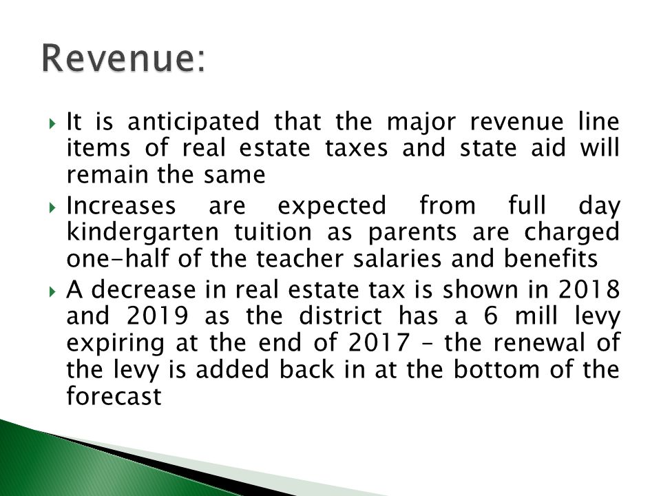  It is anticipated that the major revenue line items of real estate taxes and state aid will remain the same  Increases are expected from full day kindergarten tuition as parents are charged one-half of the teacher salaries and benefits  A decrease in real estate tax is shown in 2018 and 2019 as the district has a 6 mill levy expiring at the end of 2017 – the renewal of the levy is added back in at the bottom of the forecast