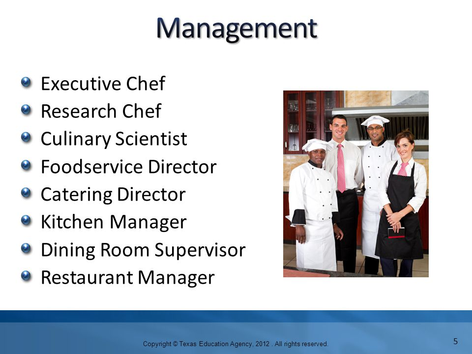 Executive Chef Research Chef Culinary Scientist Foodservice Director Catering Director Kitchen Manager Dining Room Supervisor Restaurant Manager Copyright © Texas Education Agency, 2012.