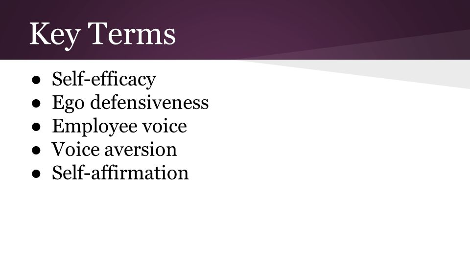 Key Terms ● Self-efficacy ● Ego defensiveness ● Employee voice ● Voice aversion ● Self-affirmation