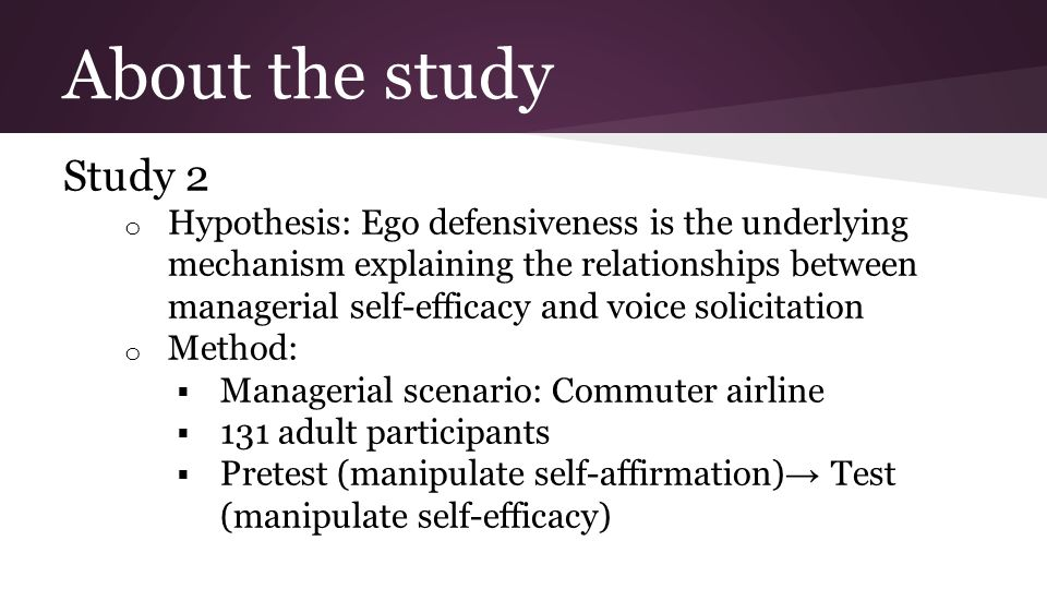 About the study Study 2 o Hypothesis: Ego defensiveness is the underlying mechanism explaining the relationships between managerial self-efficacy and voice solicitation o Method:  Managerial scenario: Commuter airline  131 adult participants  Pretest (manipulate self-affirmation) → Test (manipulate self-efficacy)