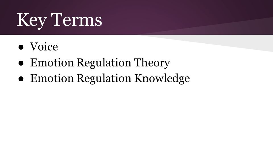Key Terms ● Voice ● Emotion Regulation Theory ● Emotion Regulation Knowledge