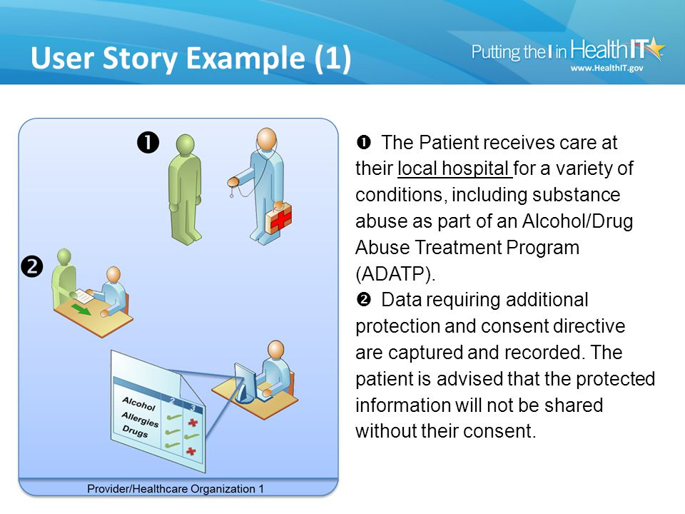 User Story Example (1)  The Patient receives care at their local hospital for a variety of conditions, including substance abuse as part of an Alcohol/Drug Abuse Treatment Program (ADATP).