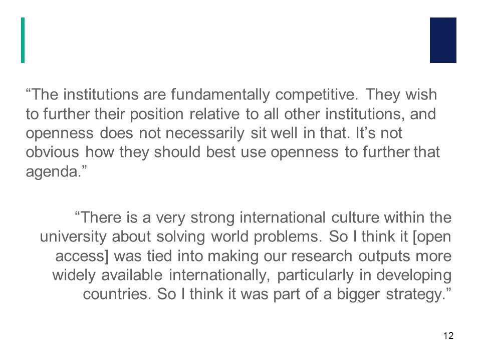 The institutions are fundamentally competitive.