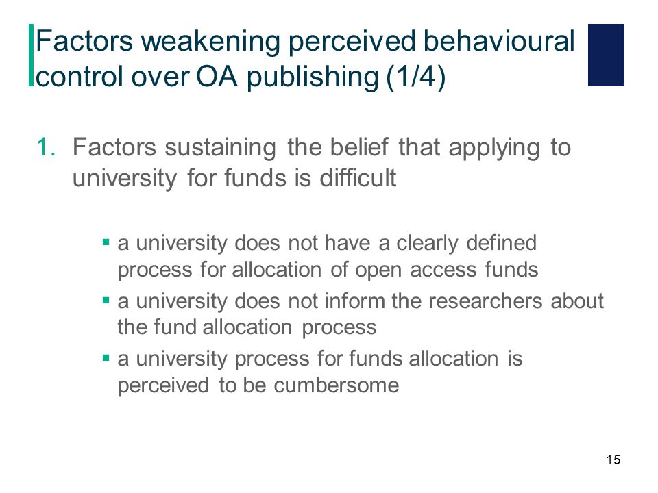 Factors weakening perceived behavioural control over OA publishing (1/4) 1.Factors sustaining the belief that applying to university for funds is difficult  a university does not have a clearly defined process for allocation of open access funds  a university does not inform the researchers about the fund allocation process  a university process for funds allocation is perceived to be cumbersome 15