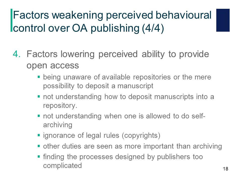Factors weakening perceived behavioural control over OA publishing (4/4) 4.Factors lowering perceived ability to provide open access  being unaware of available repositories or the mere possibility to deposit a manuscript  not understanding how to deposit manuscripts into a repository.