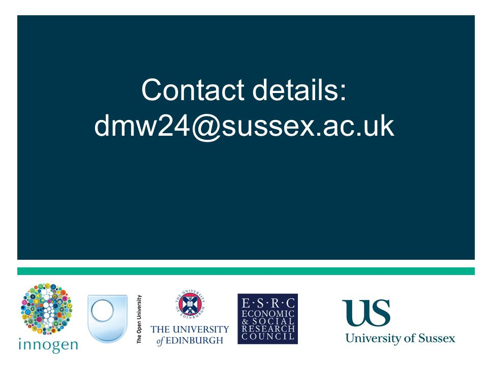 21 Contact details: dmw24@sussex.ac.uk