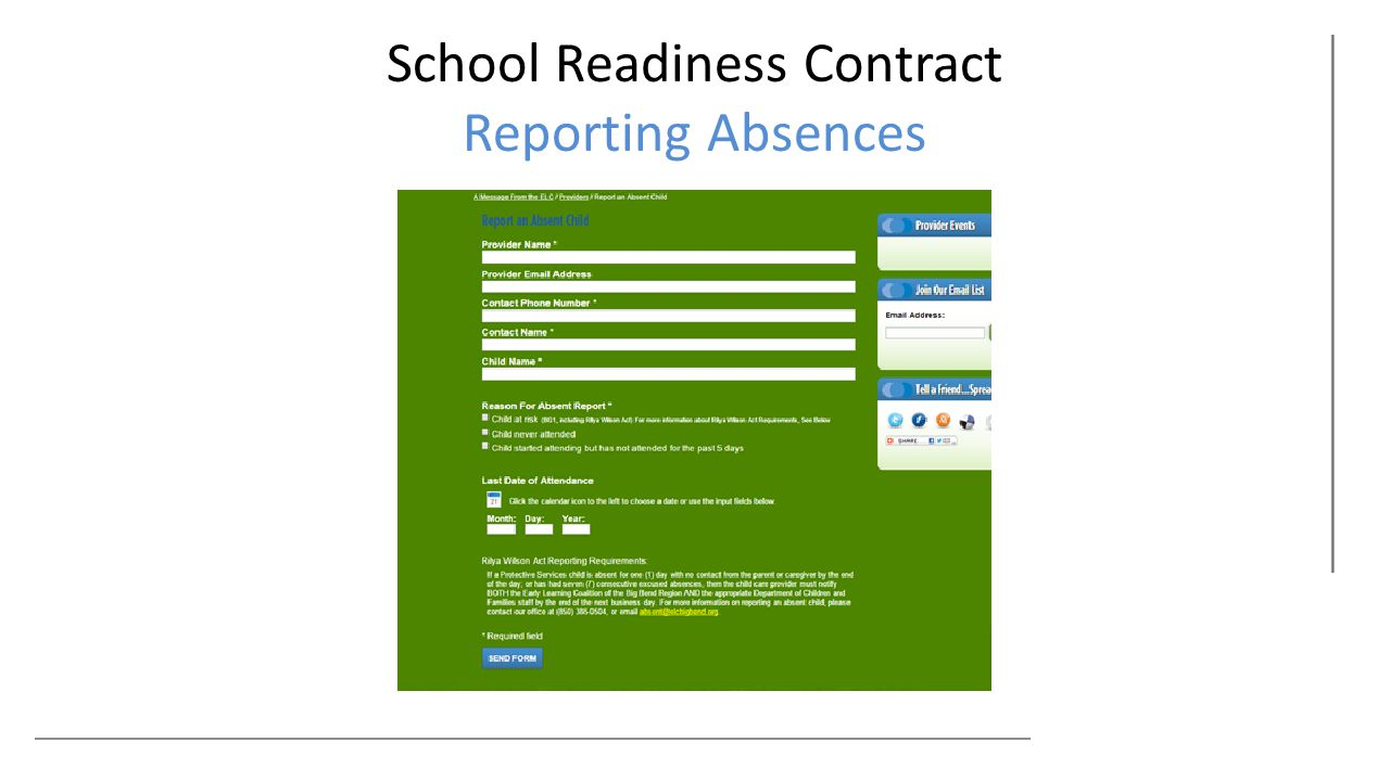 School Readiness Contract Reporting Absences