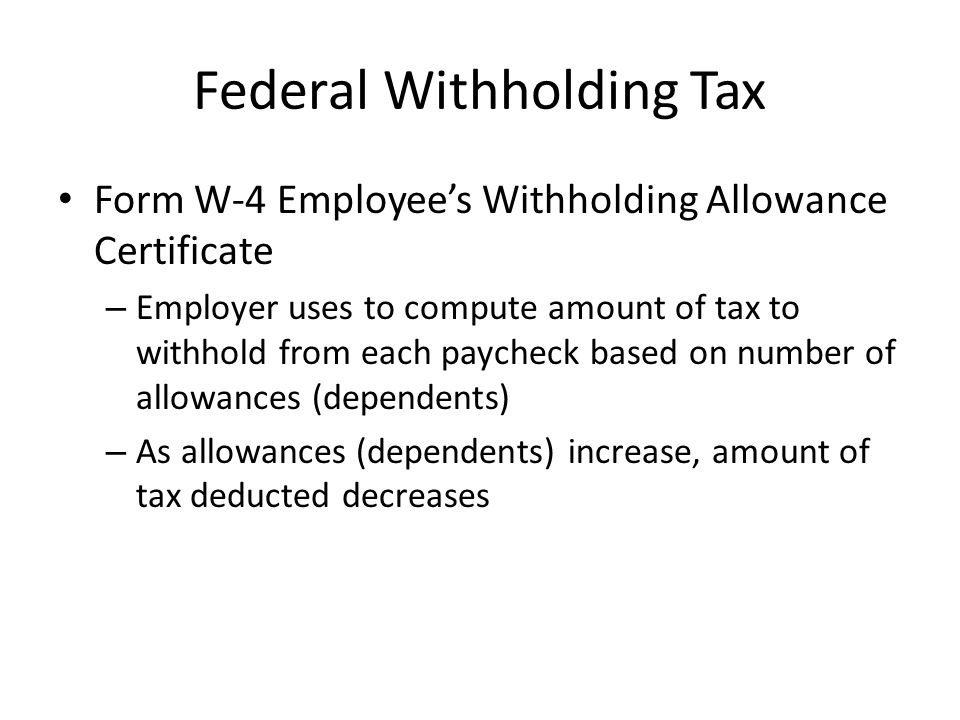 Federal Withholding Tax Form W-2 – Provided to Employee from Employer before January 31 – Shows total amount of federal taxes paid for the previous year by the Employee – Must be attached to federal tax return and used to calculate federal tax due or refund