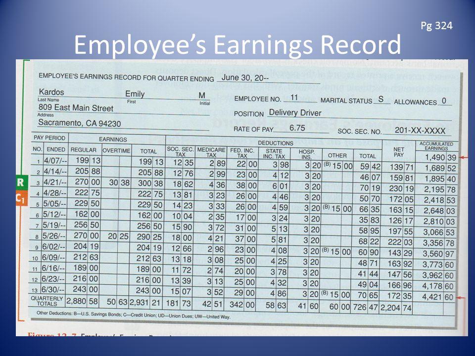 Employee's Earnings Record Pg 324