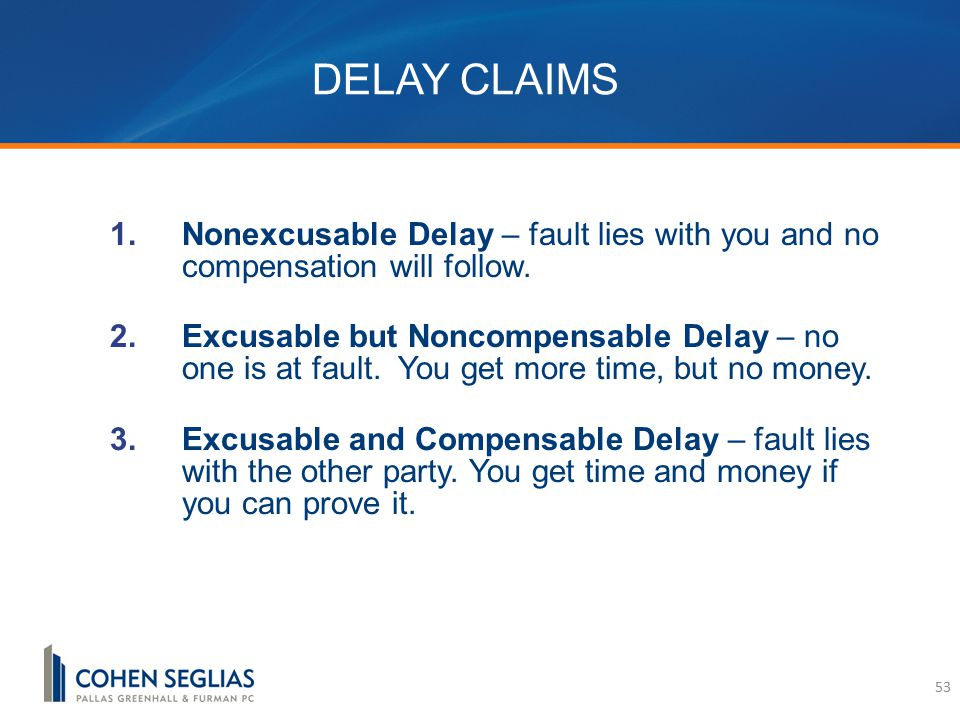 DELAY CLAIMS  Nonexcusable Delay – fault lies with you and no compensation will follow.