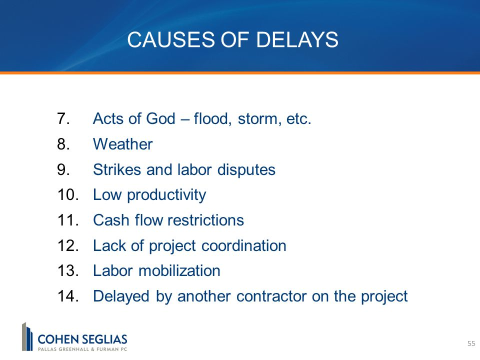 CAUSES OF DELAYS 7.Acts of God – flood, storm, etc.
