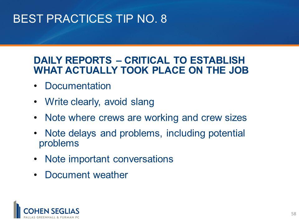 BEST PRACTICES TIP NO.