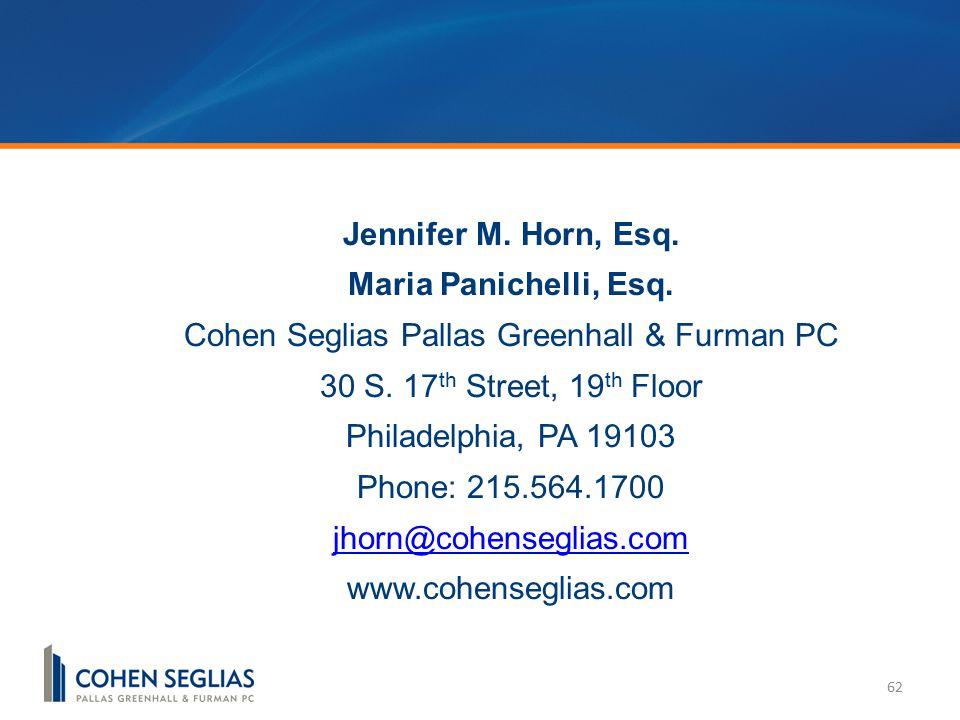 62 Jennifer M. Horn, Esq. Maria Panichelli, Esq.