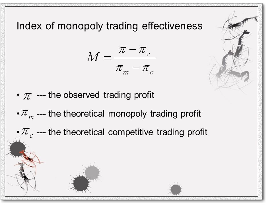 Index of monopoly trading effectiveness --- the observed trading profit --- the theoretical monopoly trading profit --- the theoretical competitive trading profit