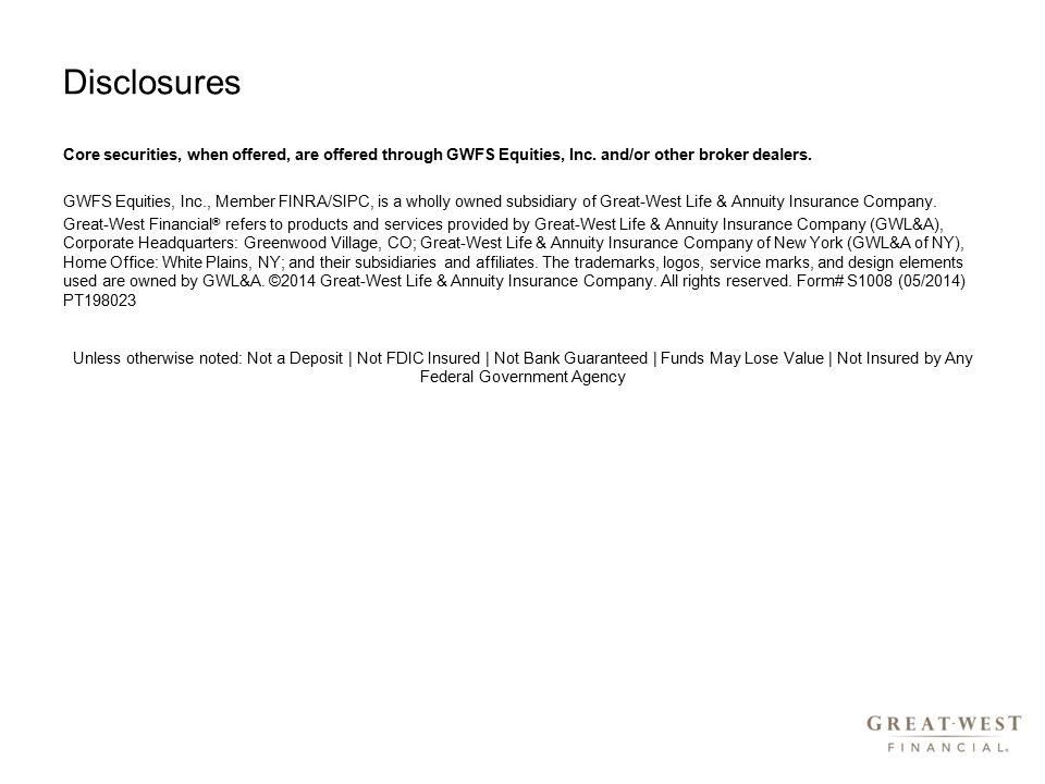 Disclosures Core securities, when offered, are offered through GWFS Equities, Inc.