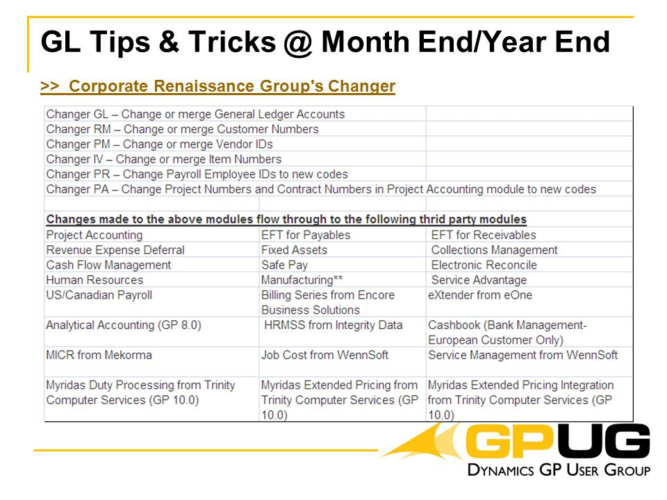 GL Tips & Tricks @ Month End/Year End >> Corporate Renaissance Group s Changer