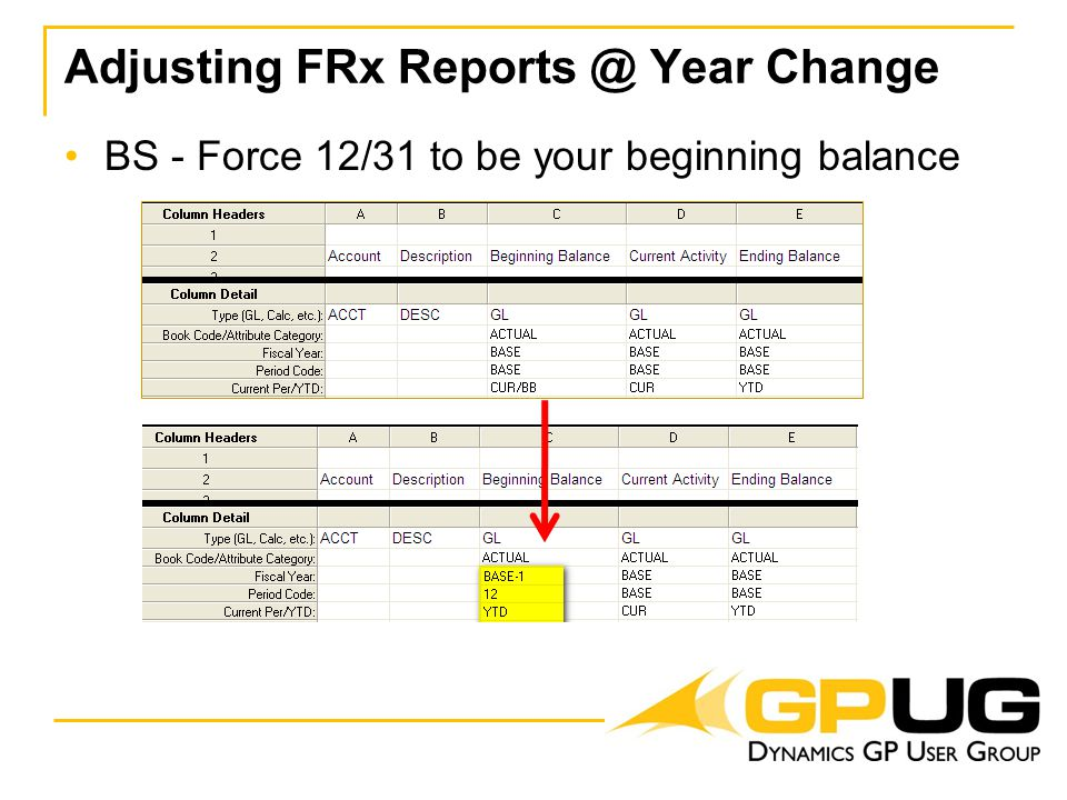 Adjusting FRx Reports @ Year Change BS - Force 12/31 to be your beginning balance