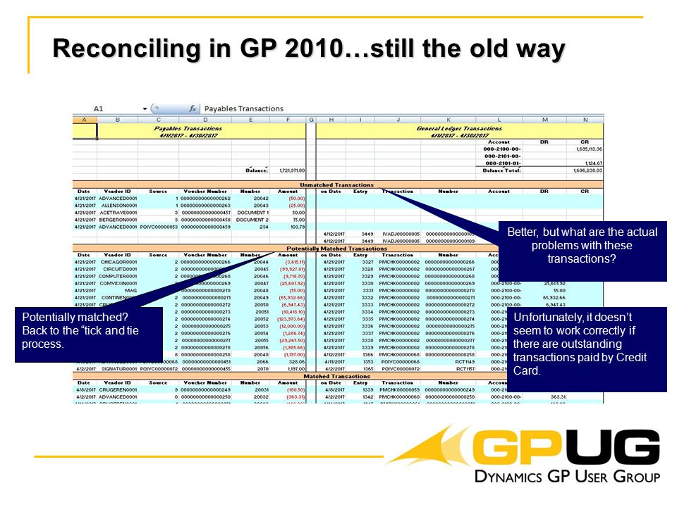 Reconciling in GP 2010…still the old way Potentially matched.