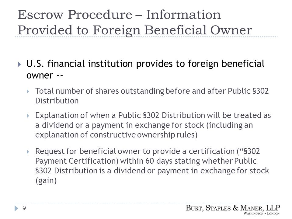 Escrow Procedure – Information Provided to Foreign Beneficial Owner  U.S.