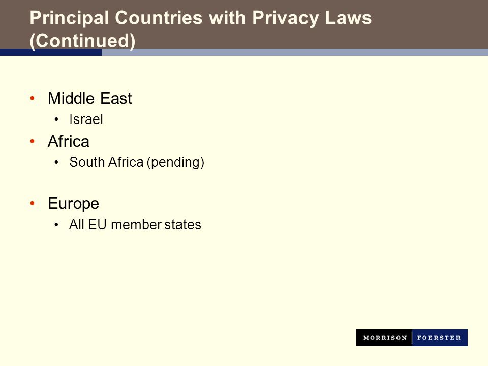 Principal Countries with Privacy Laws (Continued) Middle East Israel Africa South Africa (pending) Europe All EU member states