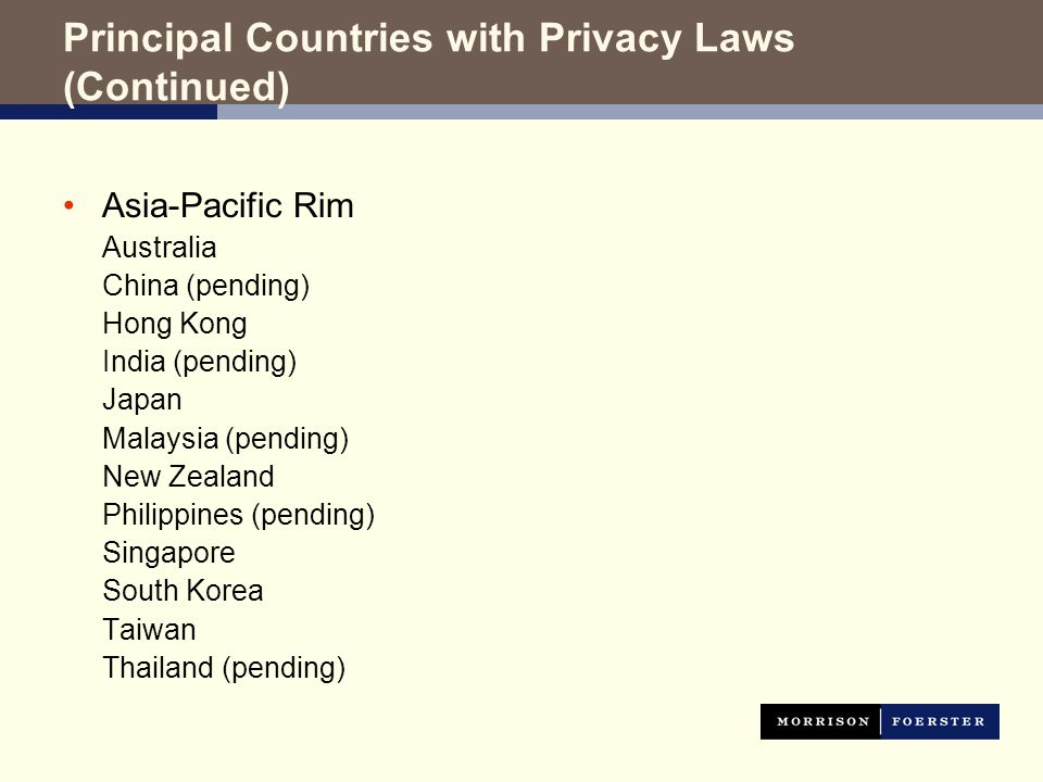 Principal Countries with Privacy Laws (Continued) Asia-Pacific Rim Australia China (pending) Hong Kong India (pending) Japan Malaysia (pending) New Zealand Philippines (pending) Singapore South Korea Taiwan Thailand (pending)