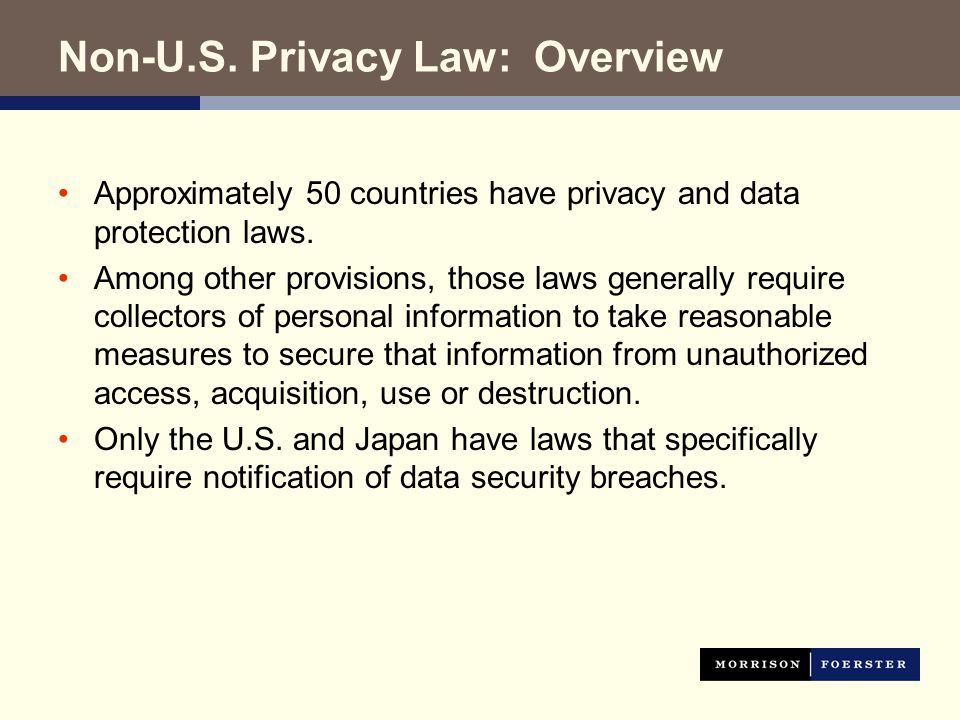 Non-U.S. Privacy Law: Overview Approximately 50 countries have privacy and data protection laws.