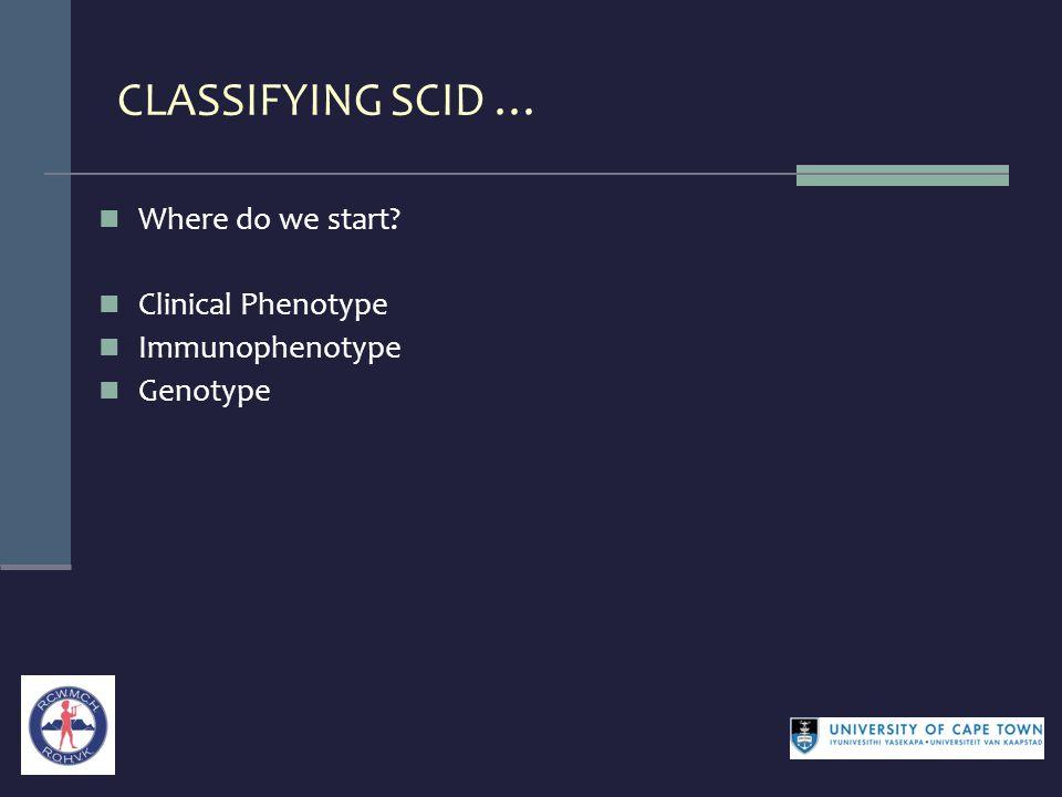 CLASSIFYING SCID … Where do we start Clinical Phenotype Immunophenotype Genotype