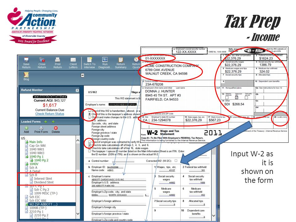 Tax Prep - Income Input W-2 as it is shown on the form