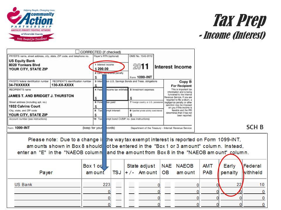 Tax Prep - Income (Interest) SCH B
