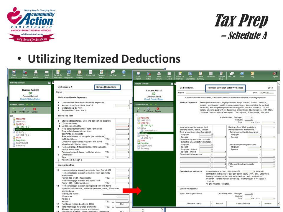 Tax Prep – Schedule A Utilizing Itemized Deductions