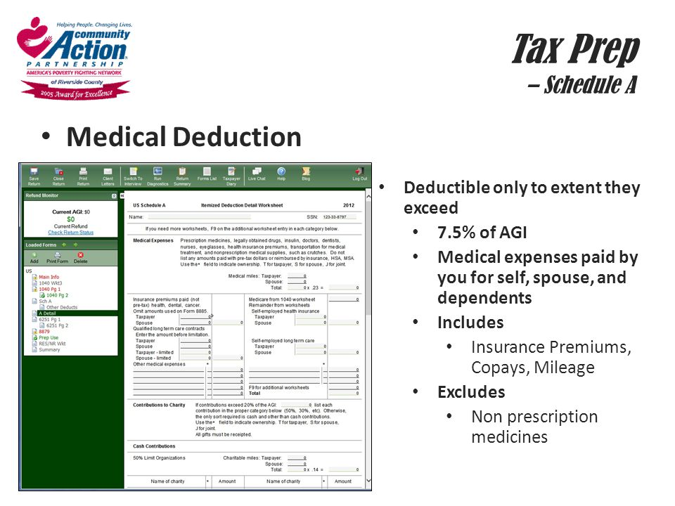 Tax Prep – Schedule A Medical Deduction Deductible only to extent they exceed 7.5% of AGI Medical expenses paid by you for self, spouse, and dependent