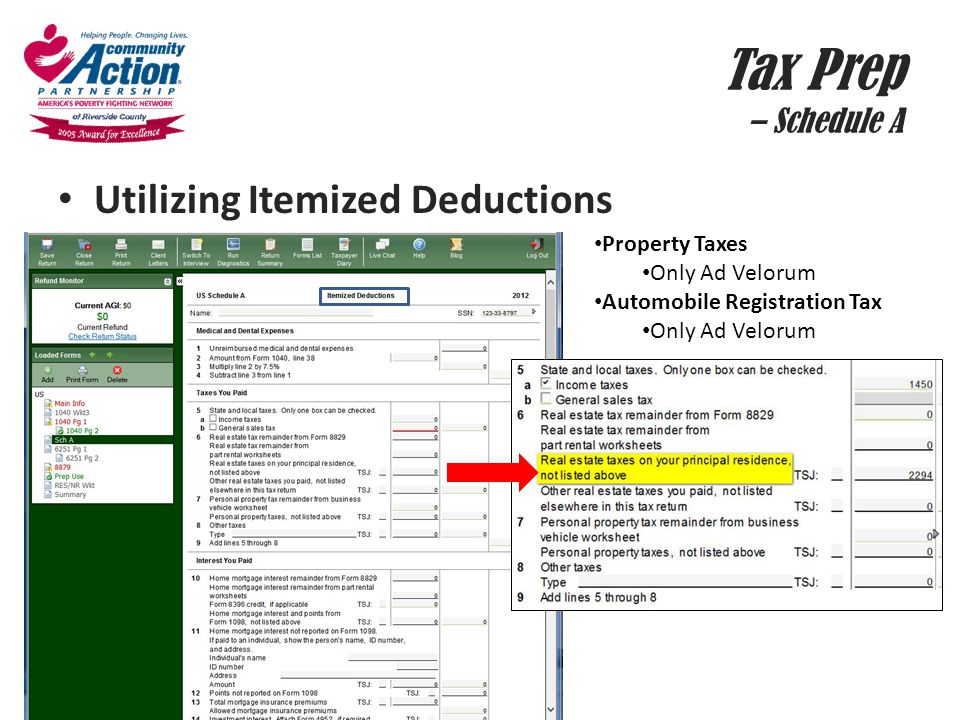 Tax Prep – Schedule A Utilizing Itemized Deductions Property Taxes Only Ad Velorum Automobile Registration Tax Only Ad Velorum