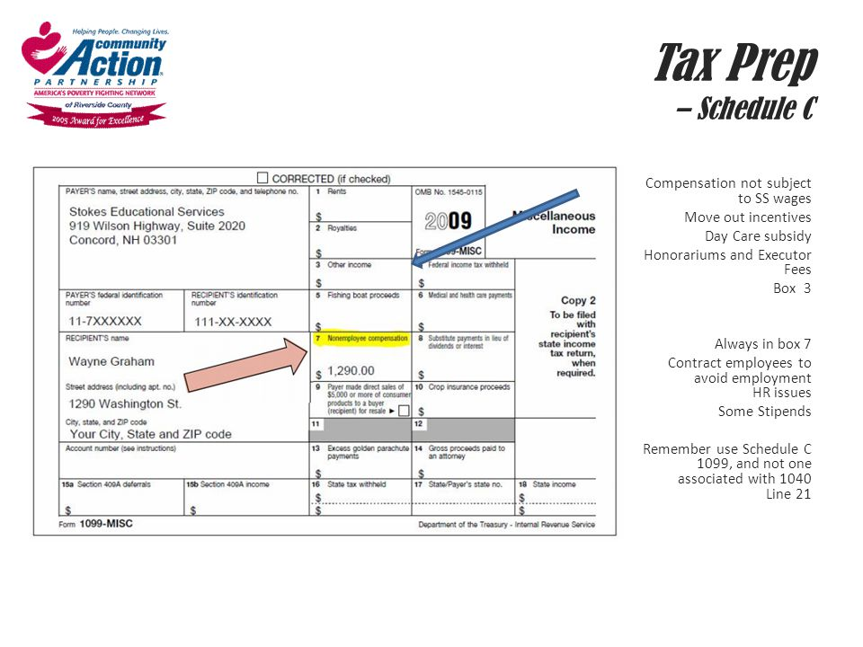Tax Prep – Schedule C Compensation not subject to SS wages Move out incentives Day Care subsidy Honorariums and Executor Fees Box 3 Always in box 7 Co