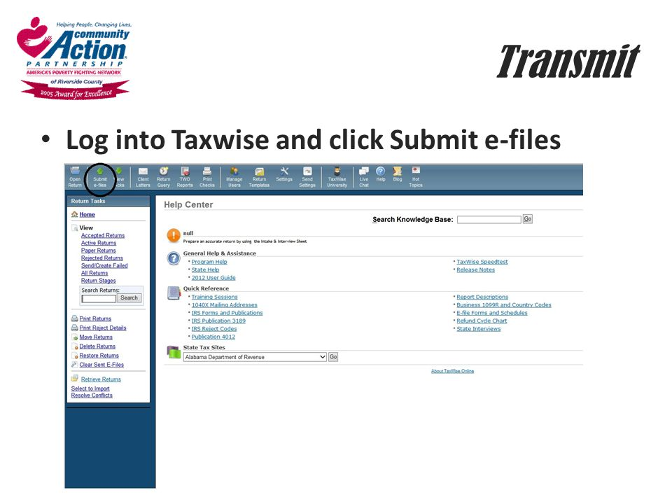 Transmit Log into Taxwise and click Submit e-files