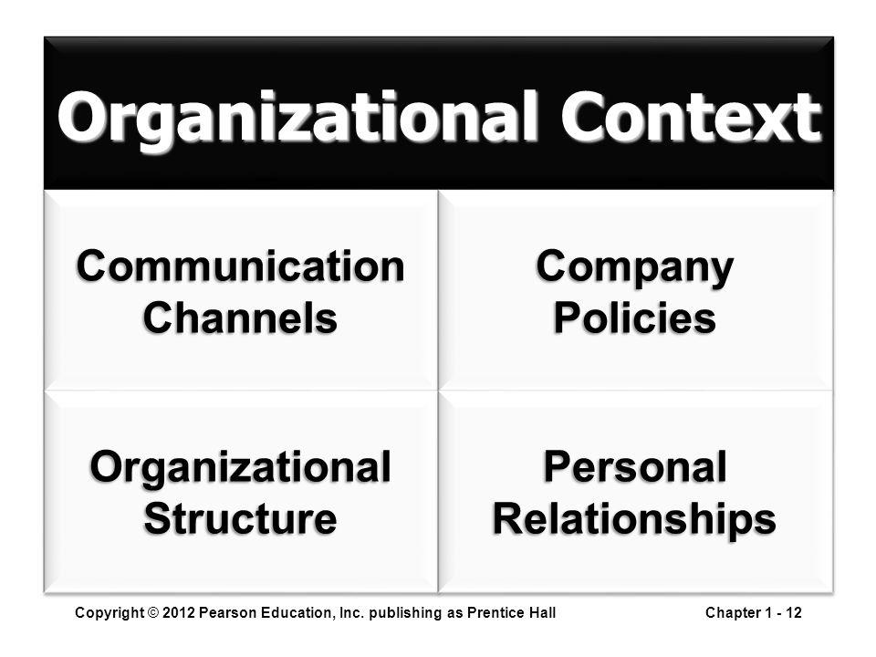 Organizational Context Copyright © 2012 Pearson Education, Inc. publishing as Prentice HallChapter 1 - 12 CommunicationChannelsCommunicationChannelsCo