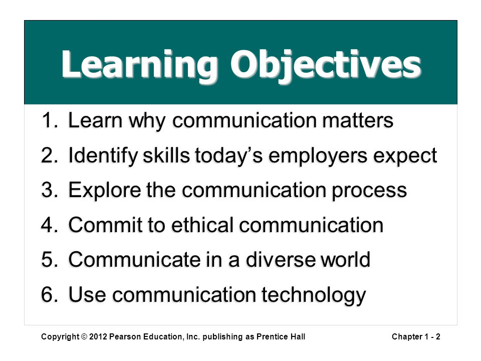 Learning Objectives 1.Learn why communication matters 2.Identify skills today's employers expect 3.Explore the communication process 4.Commit to ethical communication 5.Communicate in a diverse world 6.Use communication technology Copyright © 2012 Pearson Education, Inc.