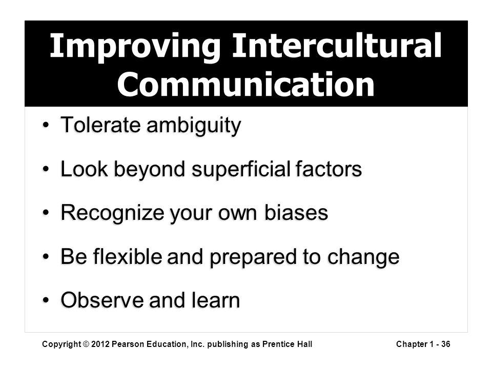 Improving Intercultural Communication Tolerate ambiguityTolerate ambiguity Look beyond superficial factorsLook beyond superficial factors Recognize yo
