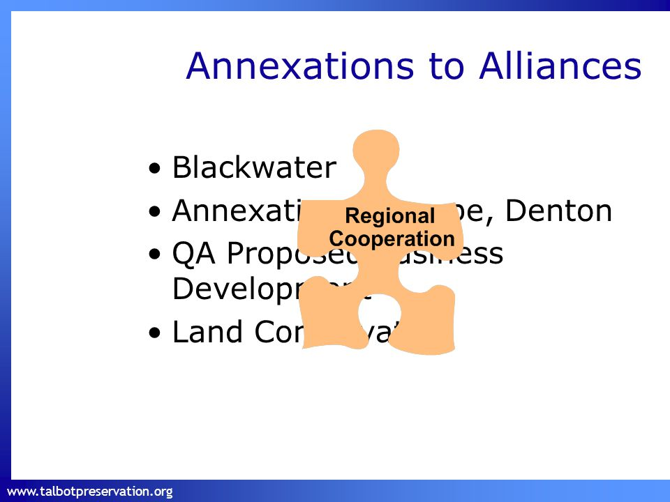www.talbotpreservation.org Annexations to Alliances Blackwater Annexations: Trappe, Denton QA Proposed Business Development Land Conservation