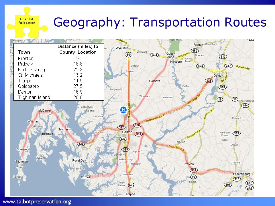 www.talbotpreservation.org Geography: Transportation Routes