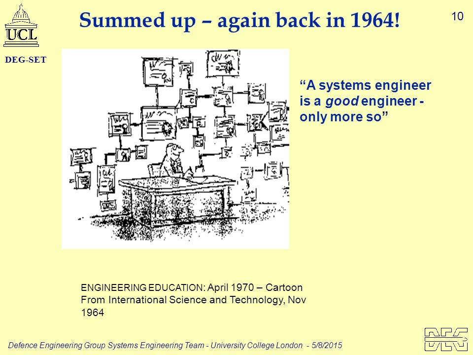 10 Defence Engineering Group Systems Engineering Team - University College London - 5/8/2015 DEG-SET ENGINEERING EDUCATION : April 1970 – Cartoon From