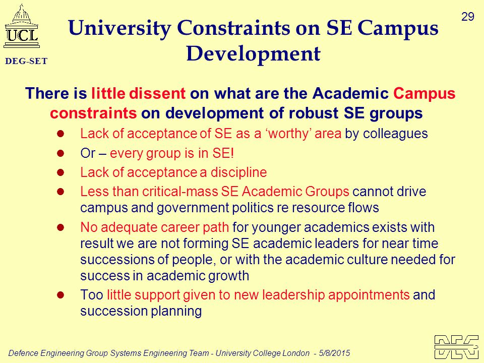 29 Defence Engineering Group Systems Engineering Team - University College London - 5/8/2015 DEG-SET University Constraints on SE Campus Development T