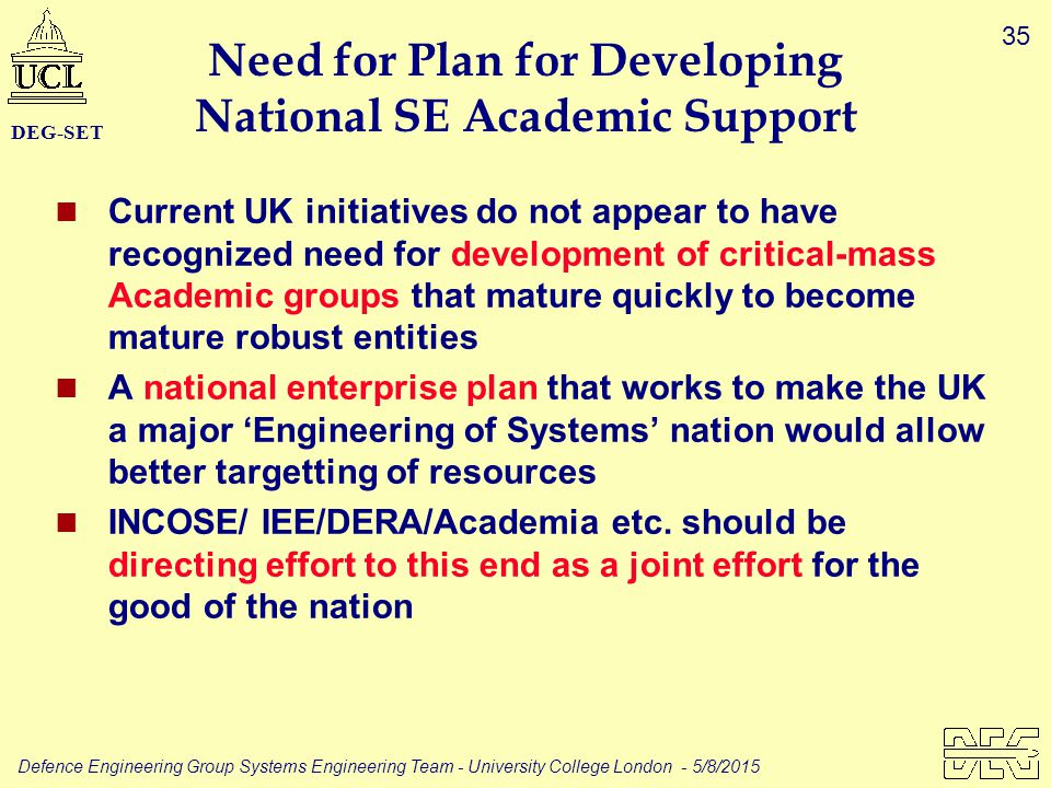 35 Defence Engineering Group Systems Engineering Team - University College London - 5/8/2015 DEG-SET Need for Plan for Developing National SE Academic