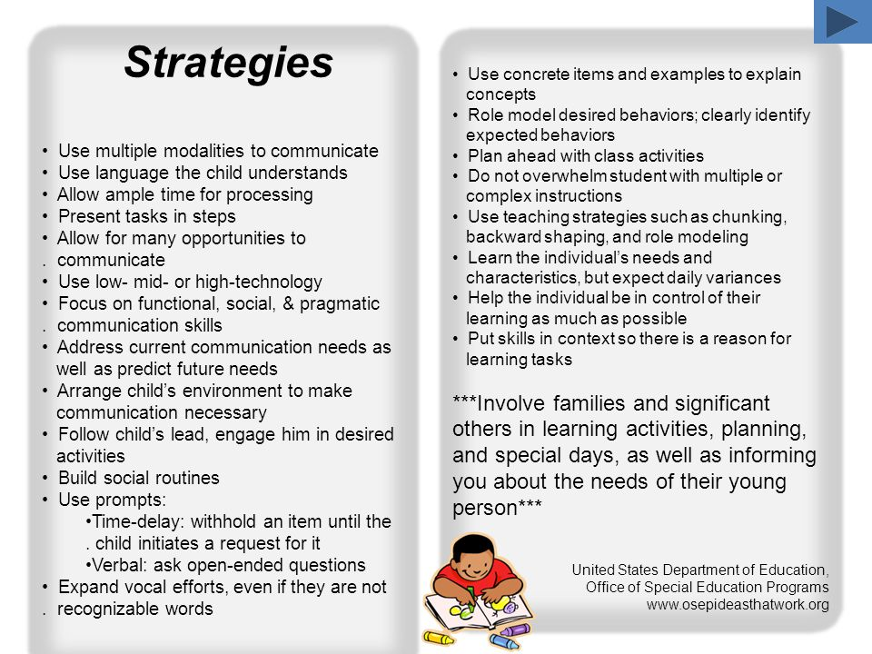 Strategies Use multiple modalities to communicate Use language the child understands Allow ample time for processing Present tasks in steps Allow for many opportunities to.