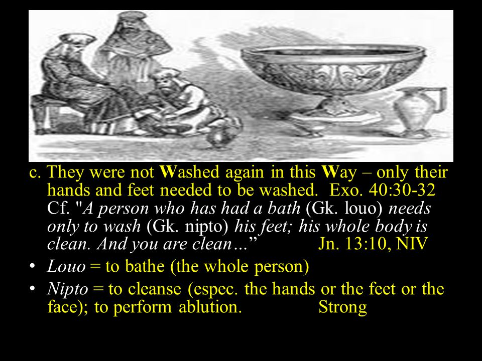 a. They were to be washed by Moses. 8:6 b.